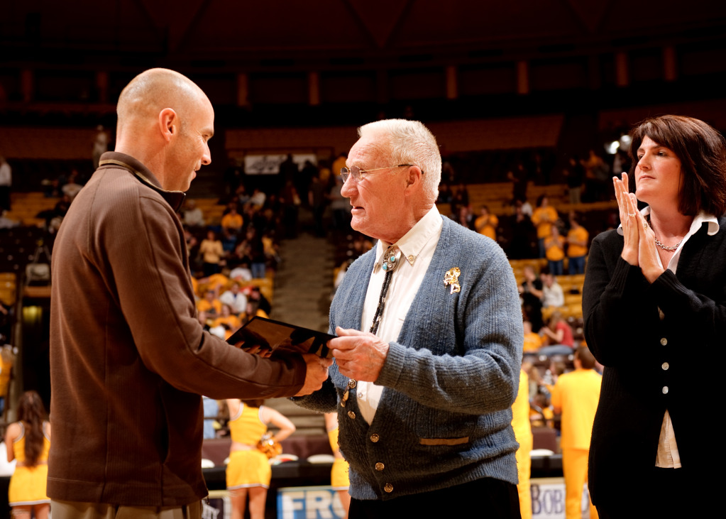 Kenny Sailors and Wyoming athletic director Tom Burman